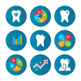 Dental care icons. Caries tooth and implant. Stock Photography