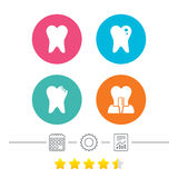 Dental care icons. Caries tooth and implant. Stock Photos
