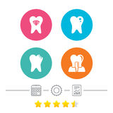 Dental care icons. Caries tooth and implant. Royalty Free Stock Photography