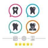 Dental care icons. Caries tooth and implant. Royalty Free Stock Images