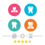 Dental care icons. Caries tooth and implant. Stock Photo