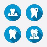 Dental care icons. Caries tooth and implant Royalty Free Stock Photo