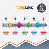 Dental care icons. Caries tooth and implant. Timeline infographic with arrows. Dental care icons. Caries tooth sign. Tooth endosseous implant symbol. Five Stock Photo