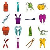 Dental care icons doodle set Stock Photo