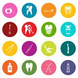 Dental care icons many colors set Stock Image