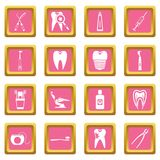 Dental care icons pink Stock Images