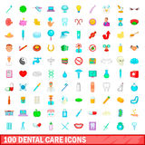 100 dental care icons set, cartoon style. 100 dental care icons set in cartoon style for any design vector illustration Royalty Free Stock Photography