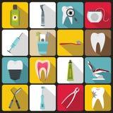 Dental care icons set, flat style Royalty Free Stock Photo