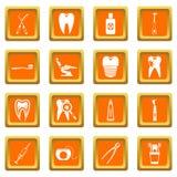 Dental care icons set orange Royalty Free Stock Image