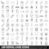 100 dental care icons set, outline style. 100 dental care icons set in outline style for any design vector illustration Royalty Free Stock Images