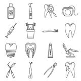 Dental care icons set, outline style Stock Images