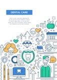 Dental Care - line design brochure poster template A4 Stock Image