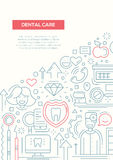 Dental Care - line design brochure poster template A4 Royalty Free Stock Image