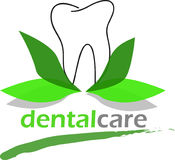 Dental care with natural green leaves Stock Image