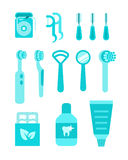 Dental care oral hygiene individual tools. Dental care vector icons. Oral hygiene individual tools. Flat simple illustrations. Clean mouth home equipment such as royalty free illustration