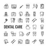 Dental care outline icon set. Dentist tools and tooth. Vector linear .isolated design