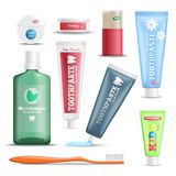 Dental Care Products Realistic Set. Dental hygiene oral care products realistic set with mouthwash toothpaste toothbrush floss and wooden sticks vector Stock Photo