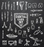 Dental Care Set with Different Hand Drawn Icons. Royalty Free Stock Photo