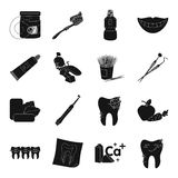 Dental care set icons in black style. Big collection of dental care vector symbol stock illustration Stock Photo