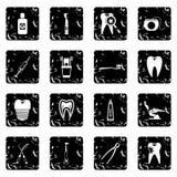 Dental care set icons, grunge style Stock Photo