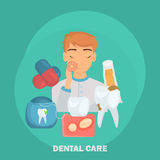 Dental care set icons for web and mobile design. Flat design Stock Photos