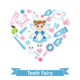 Dental care symbols in the shape of heart. Royalty Free Stock Photography