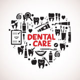 Dental care symbols in the shape of heart Stock Photos