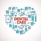Dental care symbols in the shape of heart Royalty Free Stock Photos