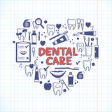 Dental care symbols in the shape of heart Royalty Free Stock Images