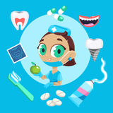 Dental care symbols. Teeth dental care mouth health set with inspection dentist treatment. Dentist with different dental equipment isolated. Profession Royalty Free Stock Photo