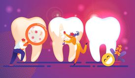 Dental Care Tiny People Characters Concept. Teeth. vector illustration