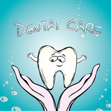 Dental care, tooth on hand, Stock Images
