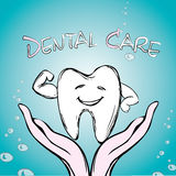 Dental care, tooth on hand, Stock Image