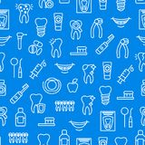 Dental Care Tooth Thin Line Seamless Pattern Background. Vector Royalty Free Stock Image