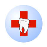 Dental care vector logo. Vectored illustration of tooth dental health care centre with stylized tooth and red cross behind Stock Photo