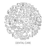Dental care web design concept. Line icons for website and landing page.. Modern linear concept. Flat design. Vector illustration Royalty Free Stock Images