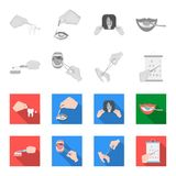 Dental care, wound treatment and other web icon in monochrome,flat style.oral treatment, eyesight testing icons in set. Dental care, wound treatment and other Royalty Free Stock Images