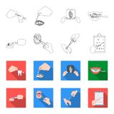 Dental care, wound treatment and other web icon in outline,flet style.oral treatment, eyesight testing icons in set. Dental care, wound treatment and other  icon Stock Photo