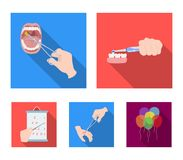 Dental care, wound treatment and other web icon in flat style.oral treatment, eyesight testing icons in set collection. Dental care, wound treatment and other Royalty Free Stock Photos