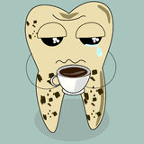 Dental cartoon vector, teeth problem from coffee Stock Photo