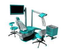 Dental chair with blue bedside tables 3d render on white backgro. Und no shadow Royalty Free Stock Image