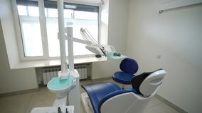 Dental chair in clinic. Dental chair in medicine clinic stock video