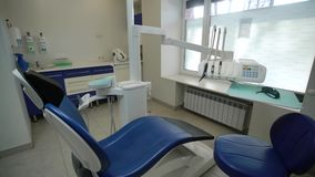 Dental chair in clinic. Dental chair in medicine clinic stock footage