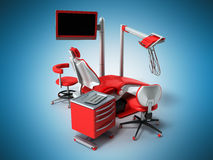 Dental chair 3d on a blue background. Dental chair 3d on a blue Stock Images
