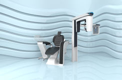 Dental chair and dental 3D CT on light blue background Royalty Free Stock Images