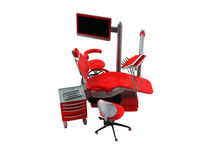 Dental chair with side tables red 3d render on white background. No shadow Stock Image