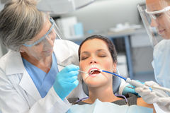 Dental check woman patient dentist team stock images