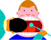 Dental checkup. Dentist examines the wide-open mouth of his patient Stock Images