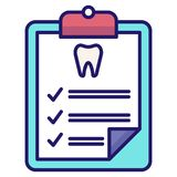 Dental checkup LineColor vector illustration