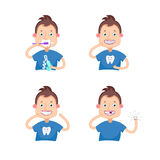 Dental children illustration. Set Vector illustration.Dental children illustration.Beautiful, perfect smile, healthy teeth.Boy with braces.Boy lost a tooth.Boy Stock Images